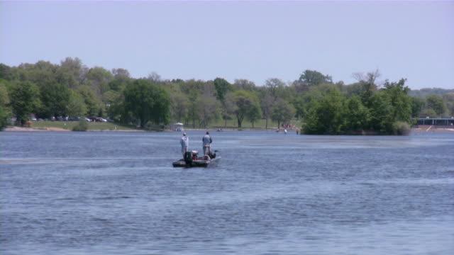 Fishing, fisherman, boat, lake.