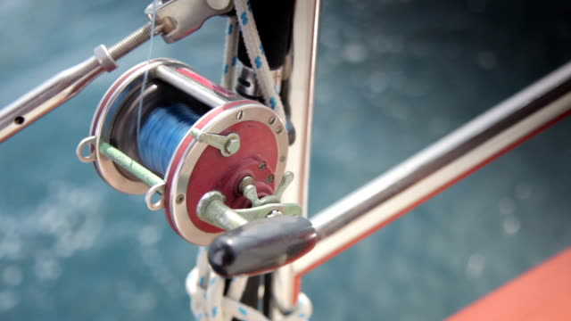 Fishing Reel on a Sailing Boat Sea Fishing