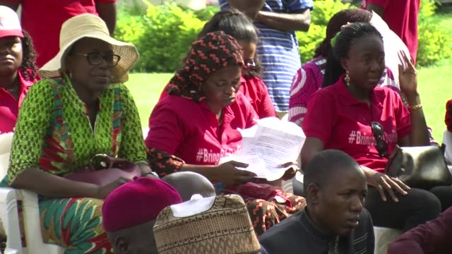 Five girls who escaped from abduction by Boko Haram in Northern Nigeria visited the BringBackOurGirls protest group in Abuja after meeting privately...