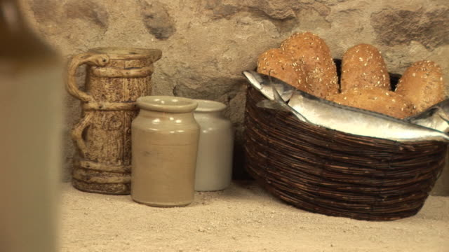 Five loaves two fish bible story stock footage video for Loaves and fishes bible story