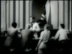 Five 'Oscars' standing w/ shadows BG Frank Capra on set CU script 'Mr Smith Goes To Washington' WS Capitol building WS Congress in session