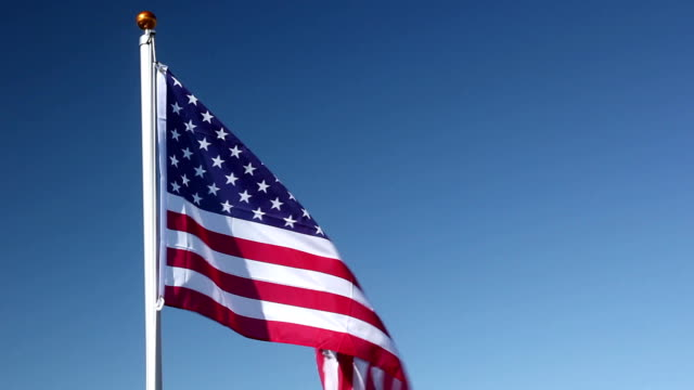 USA flag being raised up