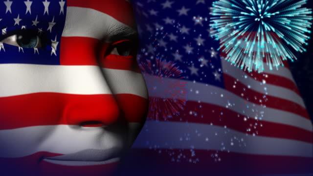 USA flag face painted celebration Fireworks