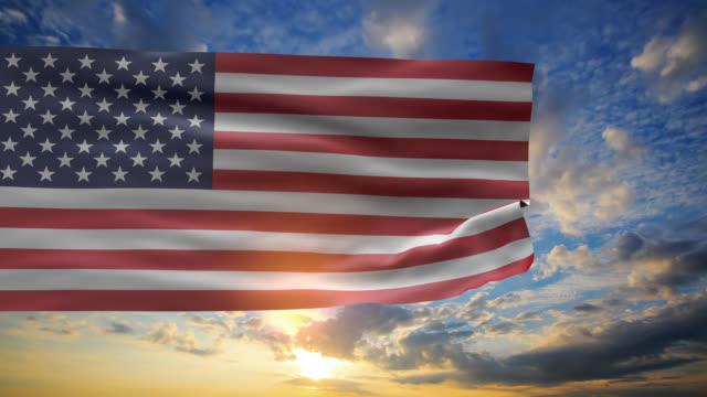 USA FLag in sunrise sky