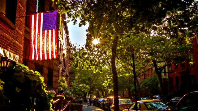 USA flag in sunset light. Brooklyn