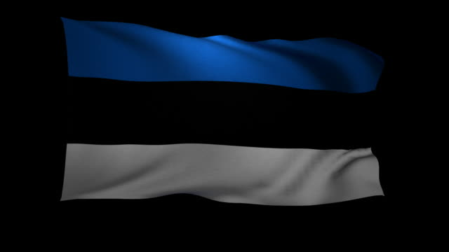 CGI Flag of Estonia waving against black background