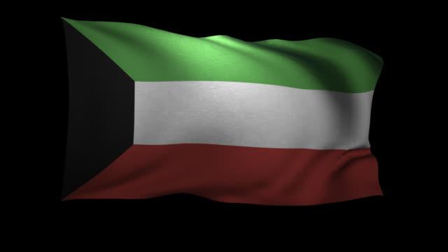 CGI Flag of Kuwait waving against black background