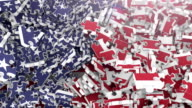 Flag of the USA in Falling Puzzle Pieces (2 versions)