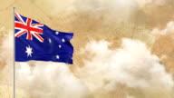 3D flagga på historisk bakgrund då blå himmel bakgrund