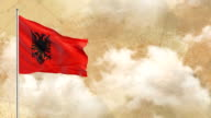 3D-vlag op de historische achtergrond dan blauwe hemelachtergrond