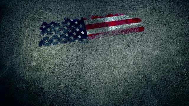 USA vlag geschilderd op de muur