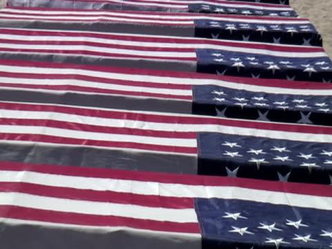 USA Flagge: Militär Coffins auf Anzeige, Tribut, Demonstration, ziehen