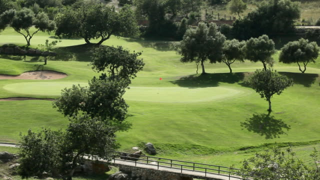 WS Flag waving in breeze on golf course / Palma de Mallorca, Mallorca, Baleares, Spain
