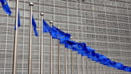 EU flags in Brussels near Berlaymont building
