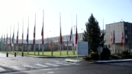 Flags of the NATO member countries fly at halfmast at NATO Headquarters in Brussels Belgium on January 02 2017 in solidarity with Turkey after the...