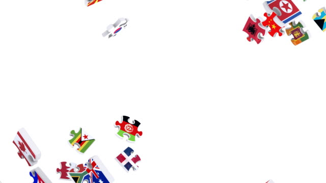 Flags of the World in Moving Puzzle Pieces (Loop)