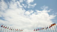 flags on a background of clouds