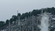 AERIAL Flare stack at an oil refinery in Vancouver