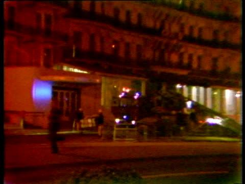 Flashing lights of emergency services outside bomb damaged hotel IRA bombing of Grand Hotel Brighton 12 Oct 84