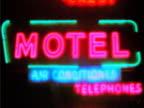 Flashing neon motel sign