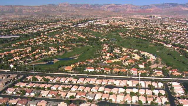 Flight above Las Vegas suburban residential areas