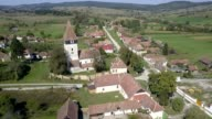 Flight above the fortified church in Toarcla