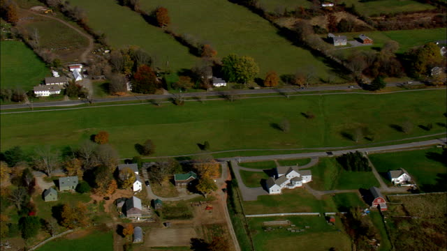 Flight Along Lebanon Green  - Aerial View - Connecticut,  New London County,  United States