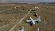 Flight Down Line Of Old Aircraft  - Aerial View - Wyoming, Big Horn County, United States