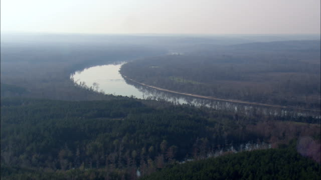 Flight Low Over Alabama River  - Aerial View - Alabama,  Monroe County,  United States