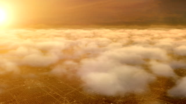 Flight over clouds, Sunrise fly