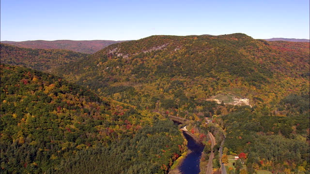 Flight Over Connecticut River  - Aerial View - Massachusetts,  Franklin County,  United States