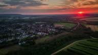 Flight over landscape in Germany at sunset, North Rhine Westphalia