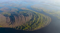 Flight over Small Green Islands in the Spillin of Pripyat River