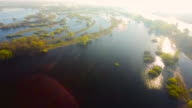 Flight over Small Green Islands in the Spilling of Pripyat River.