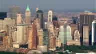 Flight paralleling Manhattan skyline from waterfront. Shot in 2003.