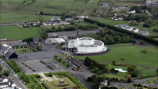 Flight Past Knock Basilica  - Aerial View - Connaught, County Mayo, Ireland