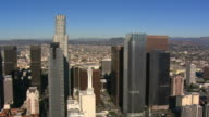Flight past Los Angeles financial district. Shot in 2008.