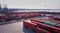 Flight Through Vast Container Terminal