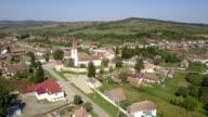 Flight towards the fortified church in Bruiu, Sibiu