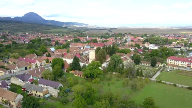 Flight towards the fortified church in Vulcan, Brasov