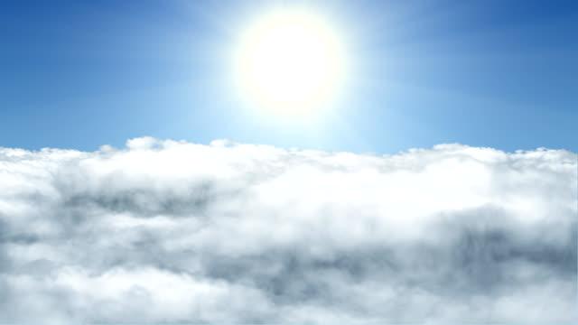Flug durch Wolken und Sonne