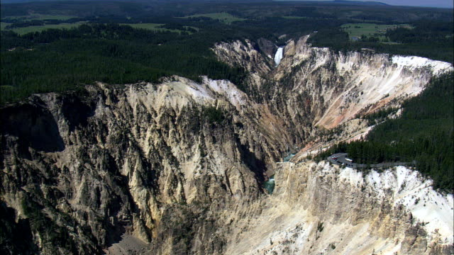 Flight With Slow Zoom To Lower Falls  - Aerial View - Wyoming,  Park County,  helicopter filming,  aerial video,  cineflex,  establishing shot,  United States