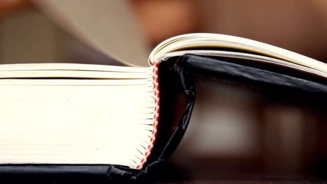 flipping pages of a book - closeup view