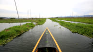 Floating cultivated land on Lake Heho in Myanmar