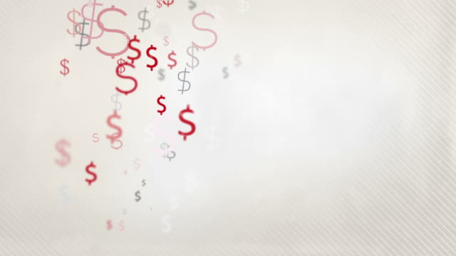 Floating Dollar Symbols Background Loop - Pastel Red & Black HD
