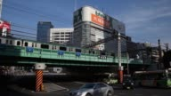 WS A flock of pigeons fly overhead in the Shinjuku district of Tokyo Japan on Thursday May 14 WS a metro train travels along an overpass to the right...