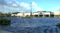 Flooded parking lot in Naples Florida after powerful hurricane Irma makes landfall