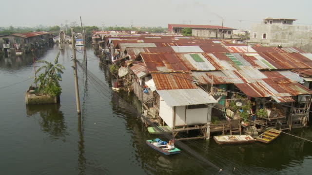 Flooded village in Manila Philippines