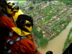 Large areas severely affected ENGLAND Gloucestershire Tewkesbury Rescue workers in helicopter