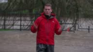 Storm Frank hits Scotland SCOTLAND Dumfries EXT Flooded riverfront promenade Flooded playground Various of flooded shopping street Flooded shopping...